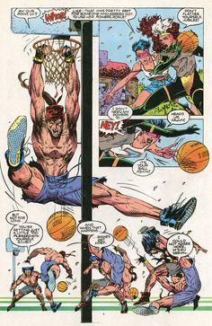 X-Sports: Blue Team Basketball Game by Jim Lee (X-Men vol. Comic Book Pages, Comic Page, Comic Book Artists, Comic Artist, Comic Books Art, Gambit X Men, Rogue Gambit, Polaris Marvel, Jim Lee Art