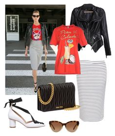 """Airport celebrity style #5"" by sarahbsm on Polyvore featuring moda, New Look, Kurt Geiger, Miu Miu, Moschino e Michael Kors"