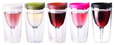 Vino2Go a sippy cup for wine -- A wine glass that will fit into a standard drink holder without falling over! From TheBoatGalley.com