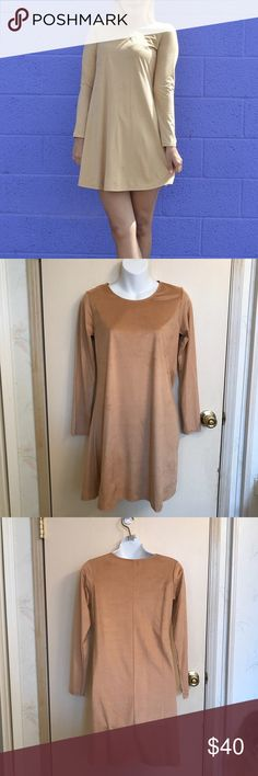 🆕 (Small) Long Sleeve Dress Has a soft, suede like feel to it.   *Color: Tan *Condition: New. Didn't come with tags. *Size: Small  *Material: 88% polyester 12% spandex  *Bust Size: Approximately 34 inches. *Length: Approximately 33 inches long.   ♥ I am from a smoke free home.  ♥ I have cats and a dog. I always make sure my clothing is fur free, but sometimes there could be a stray hair or two left. Dresses