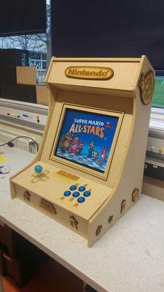 Retro arcade machine. Laser cut details