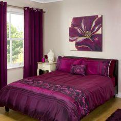 Buy Melrot Aubergine Embroidered Duvet and pillowcase set | Bedding | The Range