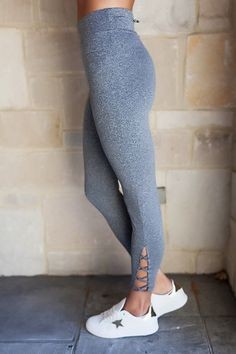 Grey Criss Cross Athletic Leggings - Dottie Couture Boutique