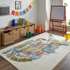 Mohawk Home Prismatic States Map Area Rug 5 x 8 - Best Rugs - Ideas of Best Rugs - Playroom decorations Casa Kids, Playroom Decor, Kids Playroom Rugs, Montessori Playroom, Colorful Playroom, Attic Playroom, Playroom Colors, Small Playroom, Cool Kids Rooms
