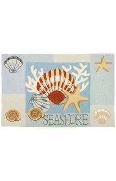 $5 Off when you share! Homefires Rugs Homefires Jennifer Brinley Key West Clam Shell Light Blue Rug #RugsUSA