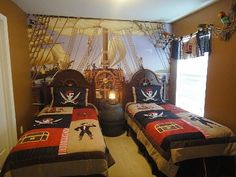 pirate bedroom decorating ideas - pirate themed furniture - nautical theme decorating ideas - pirate theme bedroom decor - Peter Pan - Jake and the Never Land Pirates - pirate ship beds - boat beds - pirate bedroom decorating ideas - pirate costumes Pirate Bedroom Decor, Pirate Bedding, Nautical Bedroom, Bedroom Themes, Kids Bedroom, Nautical Theme, Pirate Nursery, Bedroom Ideas, Pirate Ship Bed