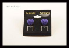 Dark Purple Hearts  Only 1 pair-$2.75  www.facebook.com/mikabellascloset