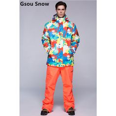 2015 Gsou snow mens ski suit male snowboarding suit multicolour skiwear Camouflage jacket and pure color