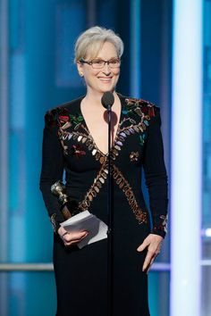 Meryl Streep Paul Drinkwater / NBCUniversal via Getty Images As she accepted her Cecil B. DeMille award on Jan. 8 at the Golden Globes, acclaimed actor Meryl Streep sharply criticized President-elect Donald Trump for ridiculing a journalist's d Meryl Streep, Marie Claire, Golden Globe Awards 2017, Oscar Verleihung, Donald Trump Tweets, Oscar Dresses, Academy Awards, Golden Globes, Kanye West