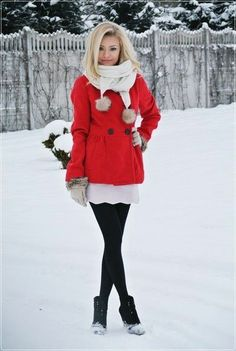 Outfit #59 - White Crochet Sundress - Red Peacoat [Buttoned] - Black Leggings - Black Boots - White Infinity Scarf or White Scarf