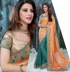 Glamorous Teal Green & Apricot #Saree