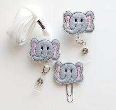 Elephant Feltie Paperclip   Badge Reel   ID Badge   Felt Badge   Badge Holder   Lanyard   Planner Clip   Planner Accessories   Animal Feltie