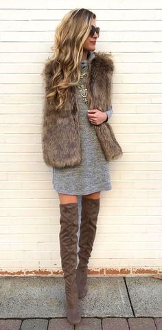 #winter #outfits brown fur vest, gray long-sleeved mini dress and brown suede thigh-high boots
