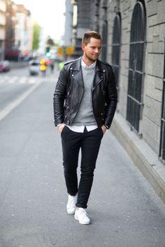 coolcosmos: Glenn H. [Leather jacket : Saint Laurent Sweater : Weekday Shirt : Filippa K. Pants : ADPT Shoes : Adidas]