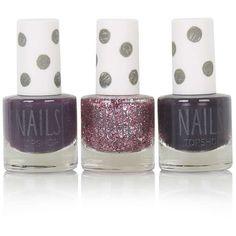 TOPSHOP Christmas Berry Nail Varnish Trio (£13) ❤ liked on Polyvore featuring beauty products, nail care, nail polish, multi, mirror nail polish, sticker nail polish, topshop, metallic nail polish and glitter nail polish