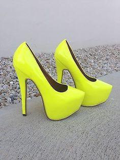 Neon yellow hidden platform high heel pump