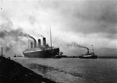 THE TITANIC LEAVING BELFAST HARBOUR,NORTHERN IRELAND.