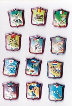 Vtg tin OLYMPIC GAMES 1964 Shield Brooch Japan Tokyo Tokio pin badge Original!  | eBay