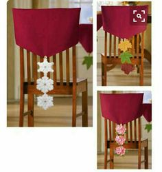 Multi-Seasonal Dining Chair Cover Decorations by deidre All Things Christmas, Christmas Home, Christmas Holidays, Christmas Ornaments, Christmas Table Settings, Christmas Table Decorations, Holiday Crafts, Home Crafts, Holiday Decor