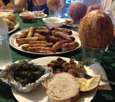 Traditional Samoan Dinner: Oka, Poke, Sausage, Palusami, Taro, and Breadfruit