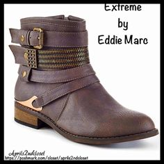 """Extreme by Eddie Marc BOOTS Buckle Zipper Booties NEW WITH TAGS RETAIL PRICE: $80 Extreme by Eddie Marc BOOTS Buckle Zipper Booties ITEM:   * Almond toe  * Side & front buckle strap details  * Gold-tone metallic hardware  * Side zip closure   * Stacked 1"""" high heels, approx 6""""shaft & 12"""" opening  * True to size   Material: Manmade upper & sole Color: Brown & gold Item#:   No Trades ✅ Offers Considered*✅ *Please use the blue 'offer' button to submit an offer. Eddie Marc Shoes Ankle Boots…"""