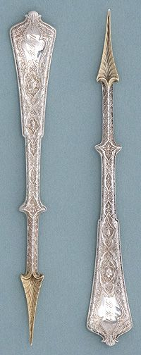 Tiffany 'Persian' Pattern Sterling Silver Nut Picks, c. 1872