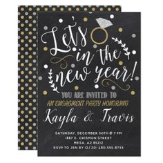 New Years Eve Engagement Party Invitation - wedding ideas diy marriage customize personalize couple idea individuel