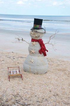 Christmas on the beach - Sand snowman.