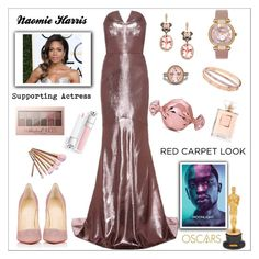 """""""Red Carpet at the Oscars: Naomi Harris"""" by rossie-rz ❤ liked on Polyvore featuring Roland Mouret, Judith Leiber, Effy Jewelry, Giorgio Armani, Christian Louboutin, Chanel, Veja, Cartier, Chopard and Maybelline"""
