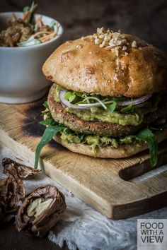 California Fusion Walnut burger with Bok Choy slaw