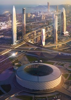 Architectural visualization abstract image of future city in photoshop Cyberpunk City, Futuristic City, Futuristic Technology, Futuristic Architecture, City Architecture, Amazing Architecture, Concept Architecture, Environment Concept Art, Environment Design
