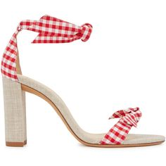 Alexandre Birman Clarita Gingham Canvas Sandals - Size 3 (€395) ❤ liked on Polyvore featuring shoes, sandals, sand shoes, alexandre birman, block heel shoes, red and white shoes and tie shoes