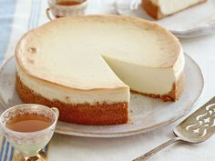 Mom's Cheesecake : The secret to this cheesecake, says Food Network Kitchen executive chef Robert Bleifer, is his mother's use of whipped cream cheese in place of the conventional variety, which she used in defiance of the package instructions. Cheesecake Recipe Food Network, Easy Cheesecake Recipes, Food Network Recipes, Cheesecake Desserts, Ultimate Cheesecake, Classic Cheesecake, Funnel Cakes, Mini Cheesecakes, Biscotti