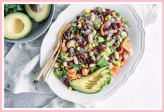 Mexican Three Bean Salad, a simple vegan bean salad featuring black, kidney, and white beans with corn and avocado. Easy and healthy! 3 Bean Salad, Three Bean Salad, Bean Salad Recipes, Healthy Salad Recipes, Vegetarian Recipes, Easy Waffle Recipe No Milk, Waffle Recipes, Banana Bread Recipes, White Kidney Beans