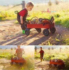 a boy and his wagon (love the spare tires!)