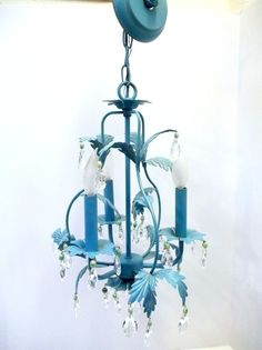 Aqua Blue Tole Crystal Chandelier Birdcage Shaped Light Turquoise Three Light Chandelier Crystals Vintage Beads OOAK Custom Designed DD 834 by donDiLights on Etsy