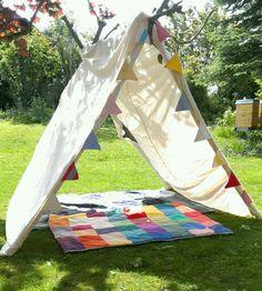 DIY fürs Picknick mit Kindern: Ein Schattenplatz - für Kinder oder auch für Erwachsene, die es gemütlich haben wollen