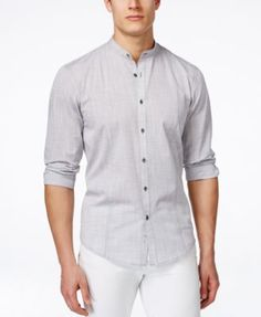 From Alfani Black, this Warren long-sleeve shirt features a stylish banded collar and a textured-plaid pattern for a modern finish to your smooth casual look.   Cotton/polyester   Machine washable   I