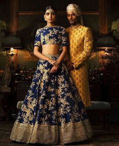 Indian Bridal Outfits, Indian Bridal Wear, Bride Indian, Indian Wear, Bridal Dresses, Red Lehenga, Bridal Lehenga, Navy Blue Lehenga, Royal Blue Saree