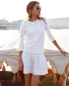 summer whites from Jcrew. White skirt and white sweater. Fashionist.