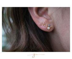 Aretes Luxe Zafiro, Diamante y Perla Diamond Earrings, Stud Earrings, Gems Jewelry, Chic, Pearl Diamond, Sapphire, Frames, Pearls, Earrings