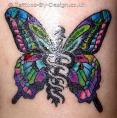 caduceus butterfly tattoo, serious contender for my Diabetes medic alert tattoo w a few modifications.  This may be my next tattoo!! With the exception of a diabetes ribbon in the middle as opposed to the caduceus.