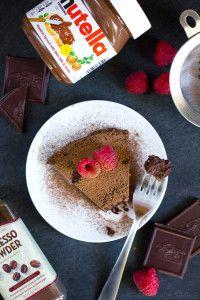 Flourless Nutella Raspberry Cake