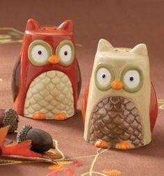 Whimsical Owl Salt & Pepper Shakers, Set of 2  for Thanksgiving