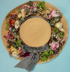Circa 1910-1920 Parisian natural straw hat trimmed with silk flowers and soft blue velvet ribbon (detail)