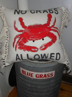 No Crabs Allowed Nautical Decorator Pillow for Coastal Living by searchnrescue2