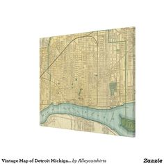 Vintage Map of Detroit Michigan (1895) Canvas Print