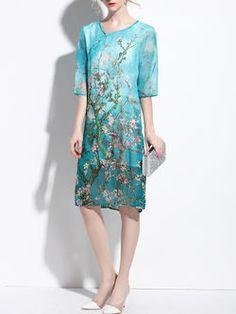 Half Sleeve Elegant Shift Floral Midi Dress