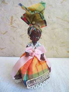 FREE SHIPPING - French Guadeloupe costume doll, folk doll, vintage Golden Jewelry, Metal Pins, Folk Costume, Blue Tones, Sell On Etsy, Cherub, Vintage Costumes, Printed Cotton, Vivid Colors