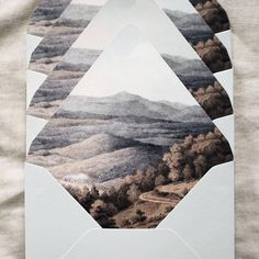 Envelope liners created from a historic painting of the blue ridge mountains…